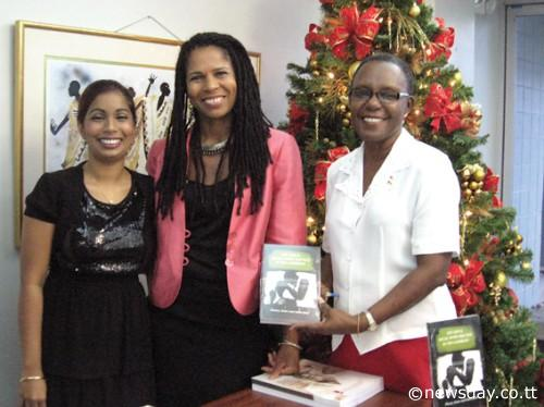 From left, book editors Priya Maharaj, Professor Adele Jones and Jacqueline Padmore. Photo courtesy of the Trinidad and Tobago's Newsday.
