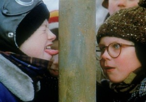 "The infamous tongue on a frozen pole scene from ""A Christmas Story."" Photo courtesy of imdb.com."