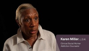 Social worker Karen Miller talks about how she was traumatized after talking to a client whose mother ran a brothel. Screenshot from Caregivers documentary trailer.