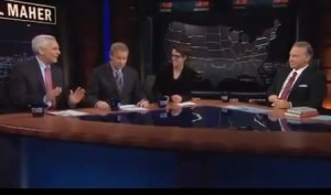 "Social worker and economist Bill Maher (left), appeared on HBO's ""Real Time with Bill Maher"" with former Republican Rep. Tom Davis (second from left) and MSNBC talk show host Rachel Maddow (second from right). Screenshot courtesy of HBO."
