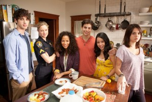 The Fosters stars from left David Lambert as Brandon; Teri Polo as Stef Foster;  Sherri Saum as Lena Adams; Jake T. Austin as Jesus; Cierra Ramirez as Marianna; and Maia Mitchell as Callie. Photo courtesy of ABC Family.