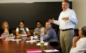 David Patterson with students at Washington University in St. Louis. Photo courtesy of the New York Times.