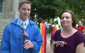National Association of Social Workers North Carolina Chapter President Jessica Holton was interviewed during a gay marriage supporter rally in Greenville. Screenshot courtesy of WITN News.