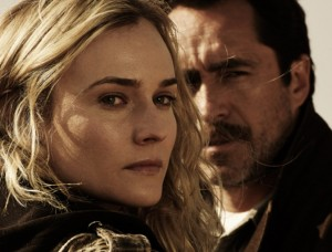 """Aactress Diane Kruger portrays American detective Sonya Cross and Demian Bichir plays Mexican detective Marco Ruiz in """"The Bridge."""" Photo courtesy of FX."""