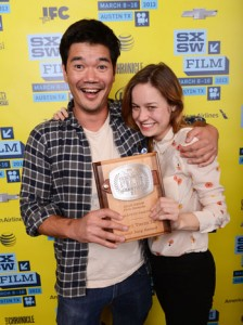 Short Term 12 writer and director Destin Daniel Cretton and actress Brie Larson, who portrays Grace, after winning an aawrd at the 2013 SXSW Film Awards in Austin Texas.