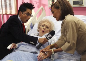 Alec Mapa and actresses Betty White and Vanessa Williams in a scene from Ugly Betty. Photo courtesy of Philadelphia City paper.