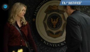 Social worker Allison meets U.S. Marshal Raylan Givens. Screenshot courtesy of Huffington Post.