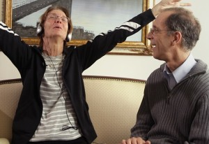 "Social worker Dan Cohen uses music to help client Mary Lou, who is in the late stages of Alzheimer's disease in ""Alive Inside."" Image courtesy of the film."