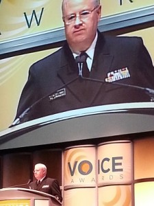 Social worker Rear Adm. Peter Delany, PhD, LCSW-C, welcomes Voice Award attendees.