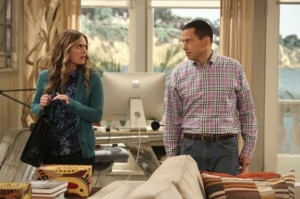 Social worker Ms. McMartin (actress Maggie Martin) enters a sexual relationship with Alan Harper (Jon Cryer) on Two and Half Men. Photo courtesy of CBS.