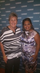 "Voice Awards host Chandra Wilson of ""Grey's Anatomy"" and NASW Past President and award presenter Suzanne Dworak-Peck."