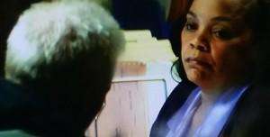 "Tonye Patano portrays ""Mrs. Jackson,"" an intake worker at a homeless shelter who portrays a social worker-like role. Screen capture from film."