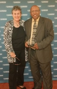 NASW's Suzanne Dworak-Peck and Voice Award  recipient Sheldon Hill.