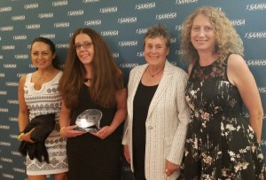 Voice Award winner, social worker and NASW member Jodi Savits (second from left) with from left NASW California Chapter Board member Rosamaria Alamo, Past NASW President Suzanne Dworak-Peck and NASW California Chapter Board Member Christina Paddock.