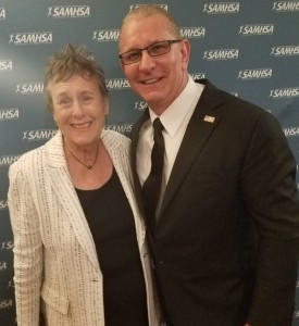 Suzanne Dworak-Peck and Voice Awards host Chef Robert Irvine.