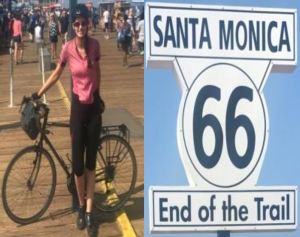 Sarah O'Conner at the end of her 4,000-mile trip in Santa Monica, California. Photo courtesy of Silas Kelly.