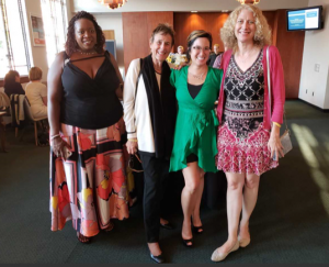 From left: NASW Senior Public Relations Specialist Aliah Wright, NASW Past President Suzanne Dworak-Peck, NASW California Chapter Director of Membership Jolene Hui, and NASW California Chapter Board Member Christina Paddock.