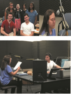 Students recording radio PSAs at Suffolk Community College. Image courtesy of Silas Kelly.