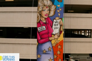 Screenshot of CBS News video of one of Claudia La Bianca's murals.